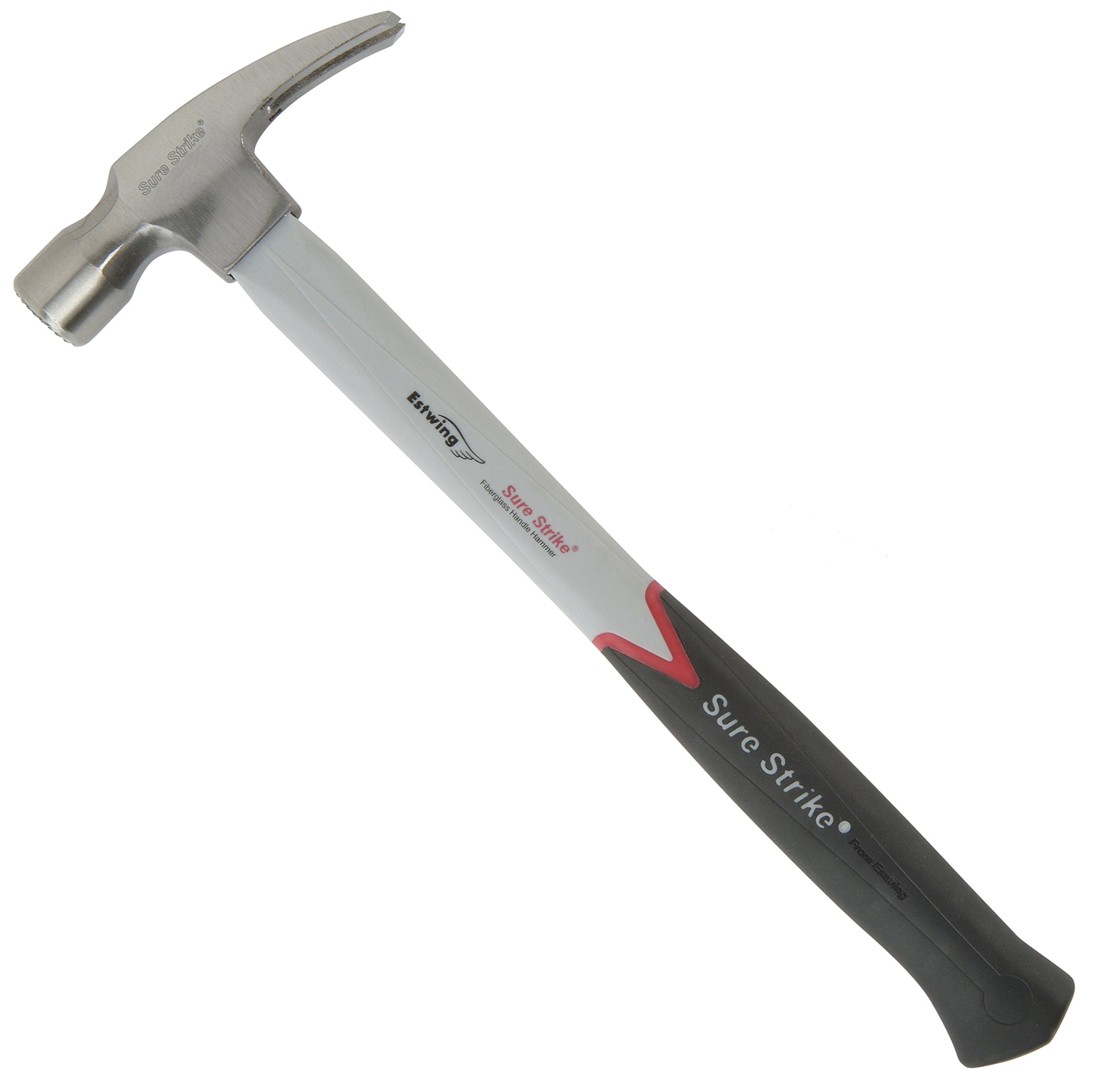 Estwing Sure Strike Hammer - 16 oz Straight Rip Claw with Fiberglass Handle & No-Slip Cushion Grip - MRF16S