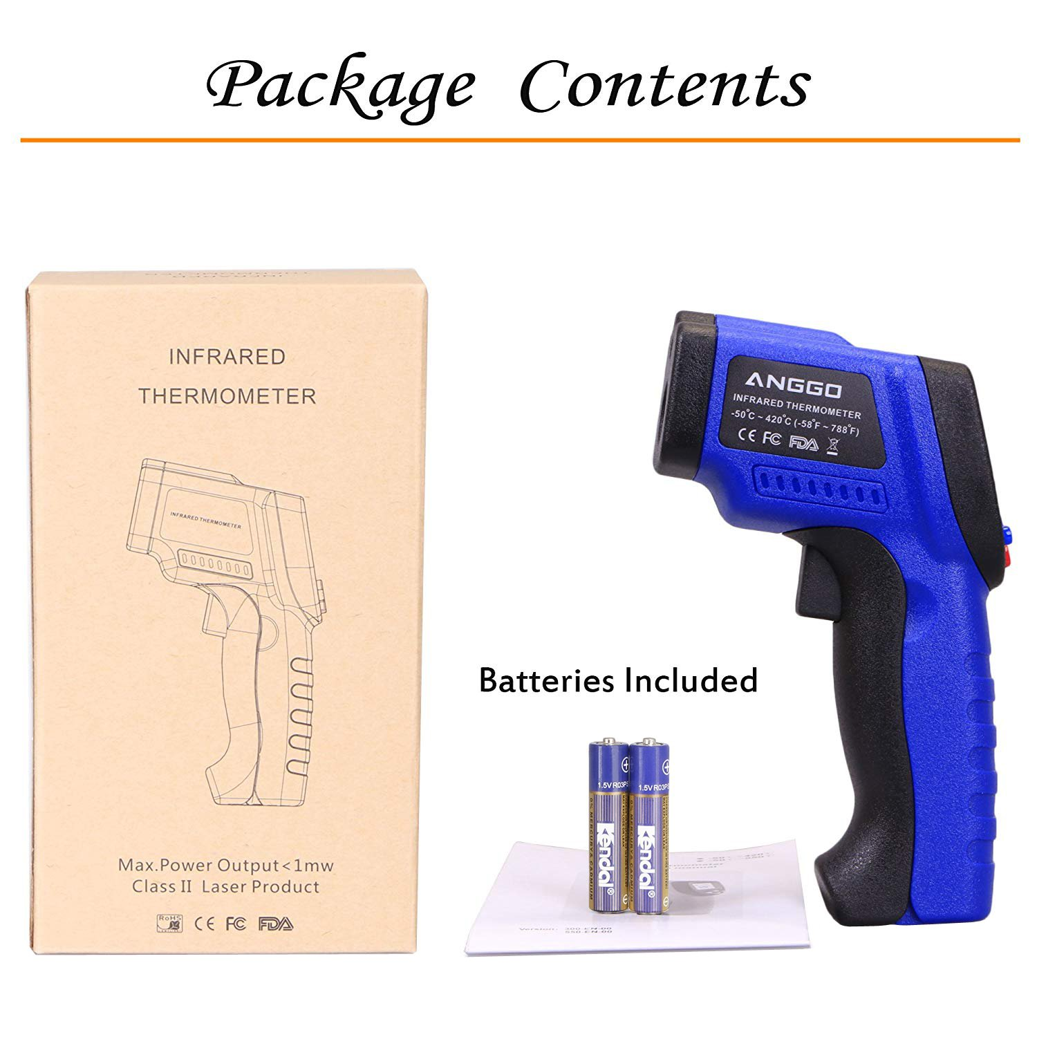 ANGGO Non-contact Digital Infrared Thermometer Temperature Gun with EMS Adjustable (-58 °F to 788°F) by ANGGO (Image #7)