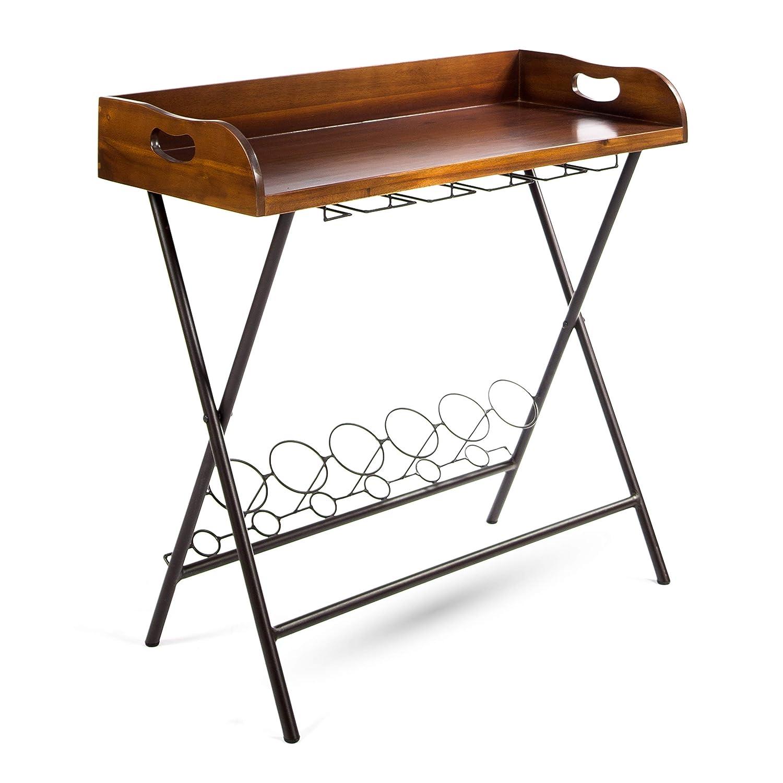 Amazon com idris wood bar tray stand mid century retro acacia wood with dark oak stain kitchen dining