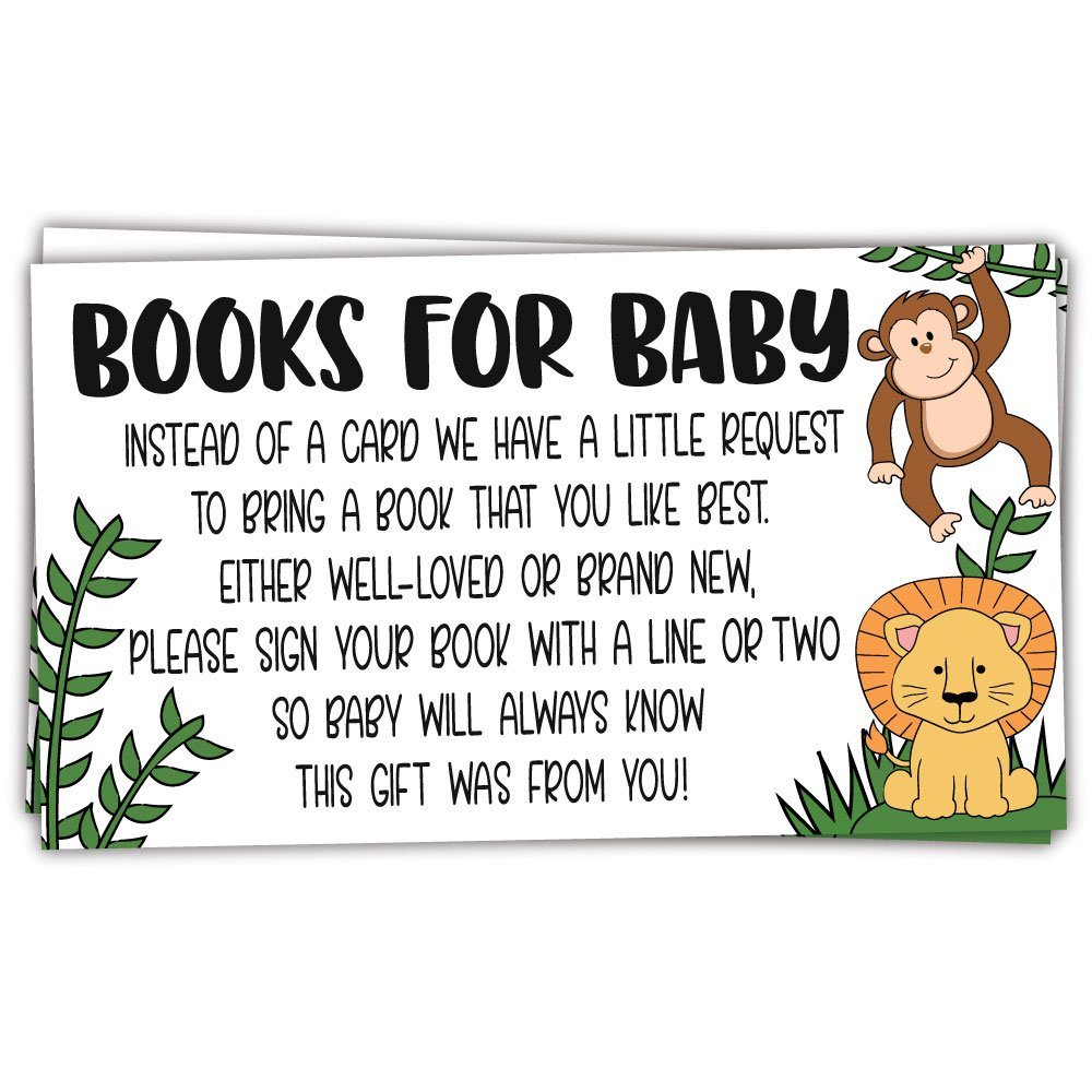 50 Safari Jungle Animals Books for Baby Shower Request Cards - Invitation Inserts - Gender Neutral by m&h invites
