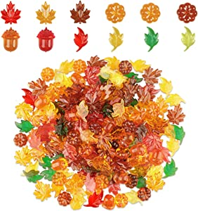 250 Pcs Acrylic Leaves Fall Decorations Mini Acrylic Pumpkin Maple Leaves Acorns Crystals Gems for Thanksgiving Home Table Scatters Decor Fall Vase Filler Preschool Counting Sorting Stone (6 Colors)