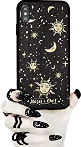 Rogue + Wolf Celestial Sun Moon and Stars Phone Case with Metallic Gold Mirror Effect Details Compatible with iPhone 6+ 6S+ 7+ 8+ Cases Wiccan Goth Hard Cover for Women Witch Spooky