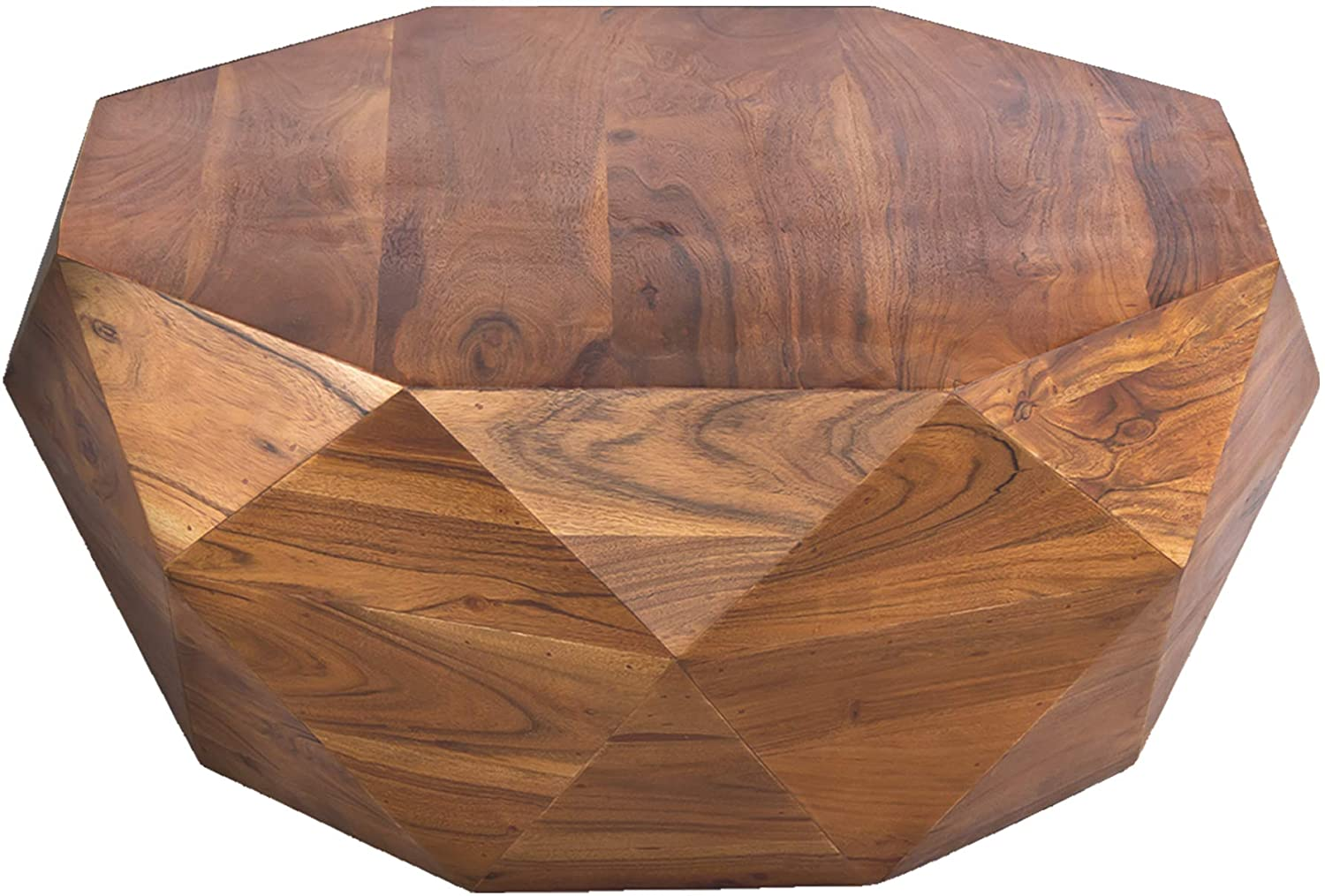 The Urban Port Diamond Shape Acacia Wood Coffee Table With Smooth Top Dark Brown Furniture Decor