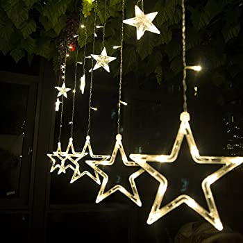 string lights curtain12 stars 138 leds string curtain lights3m hanging lighting outdoor