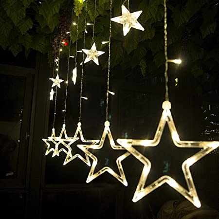 String Lights Curtain 12 Stars 138 Leds String Curtain Lights 3m Hanging Lighting Outdoor Waterproof Linkable Copper Window Lights Decoration For