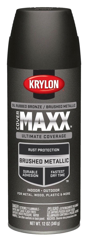 Krylon K09191000 COVERMAXX Spray Paint, Brushed Metallic Oil Rubbed Bronze, 11 Ounce