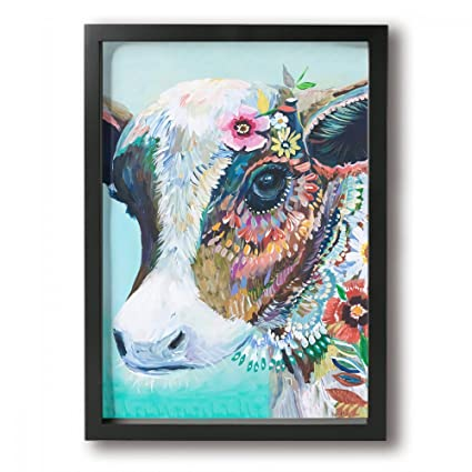 .com: mout art colorful animal cow 10x13 inch personalized ...