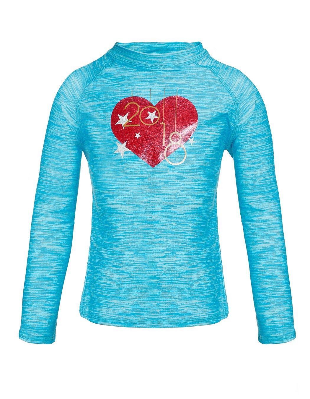 Girls Long Sleeve Rash Guard Shirt, UPF 50+ Sun Protection Swim Shirt