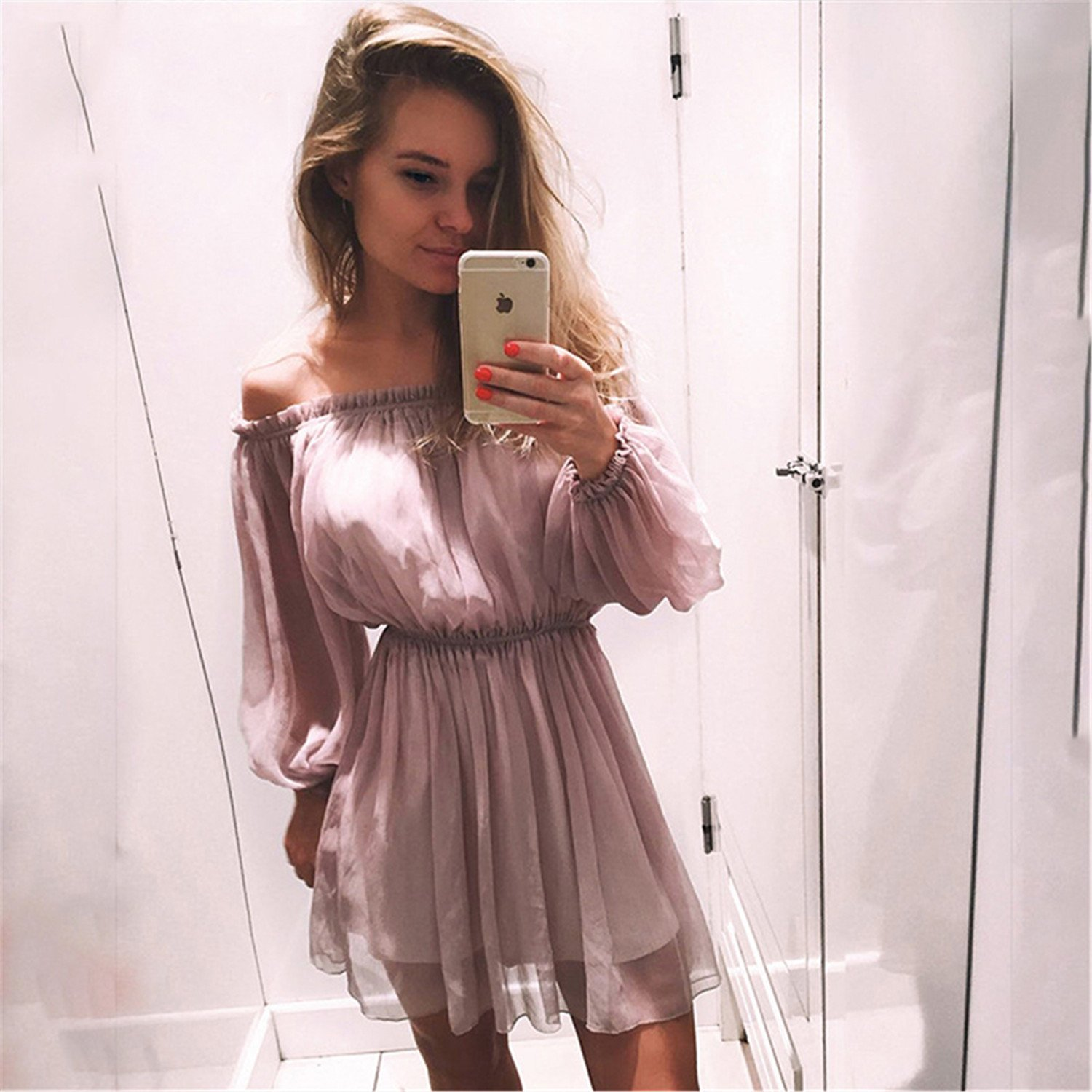 Chiffon Women Boho Clothing Hippie Chic Party Evening Vestidos Pink Dress Summer Beach Tunic Femme A346 at Amazon Womens Clothing store:
