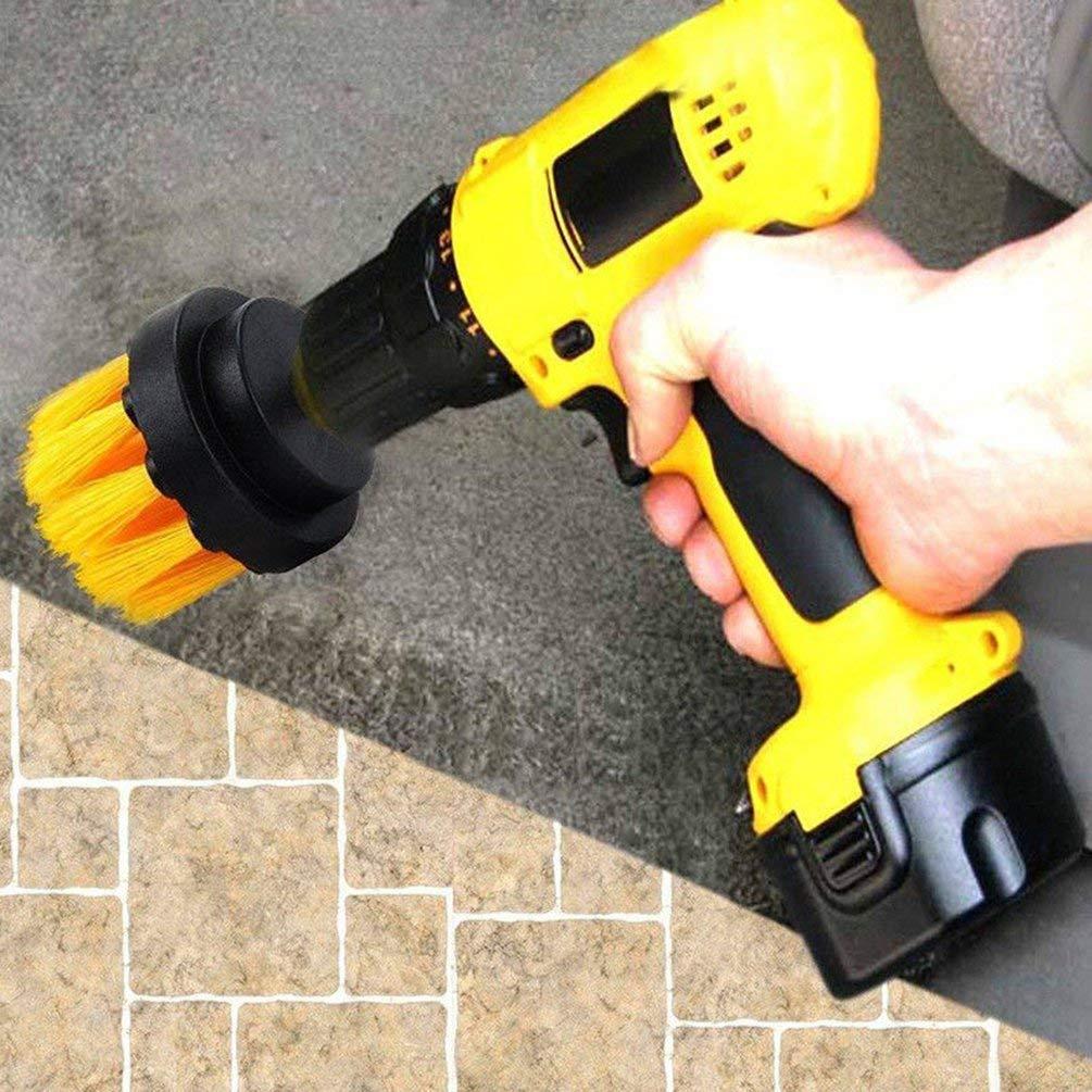 TAOHOU 3pcs 2 3.54 Pollici Tile Grout Power Scrubber Pulizia Spazzola da Trapano TubYellow Giallo