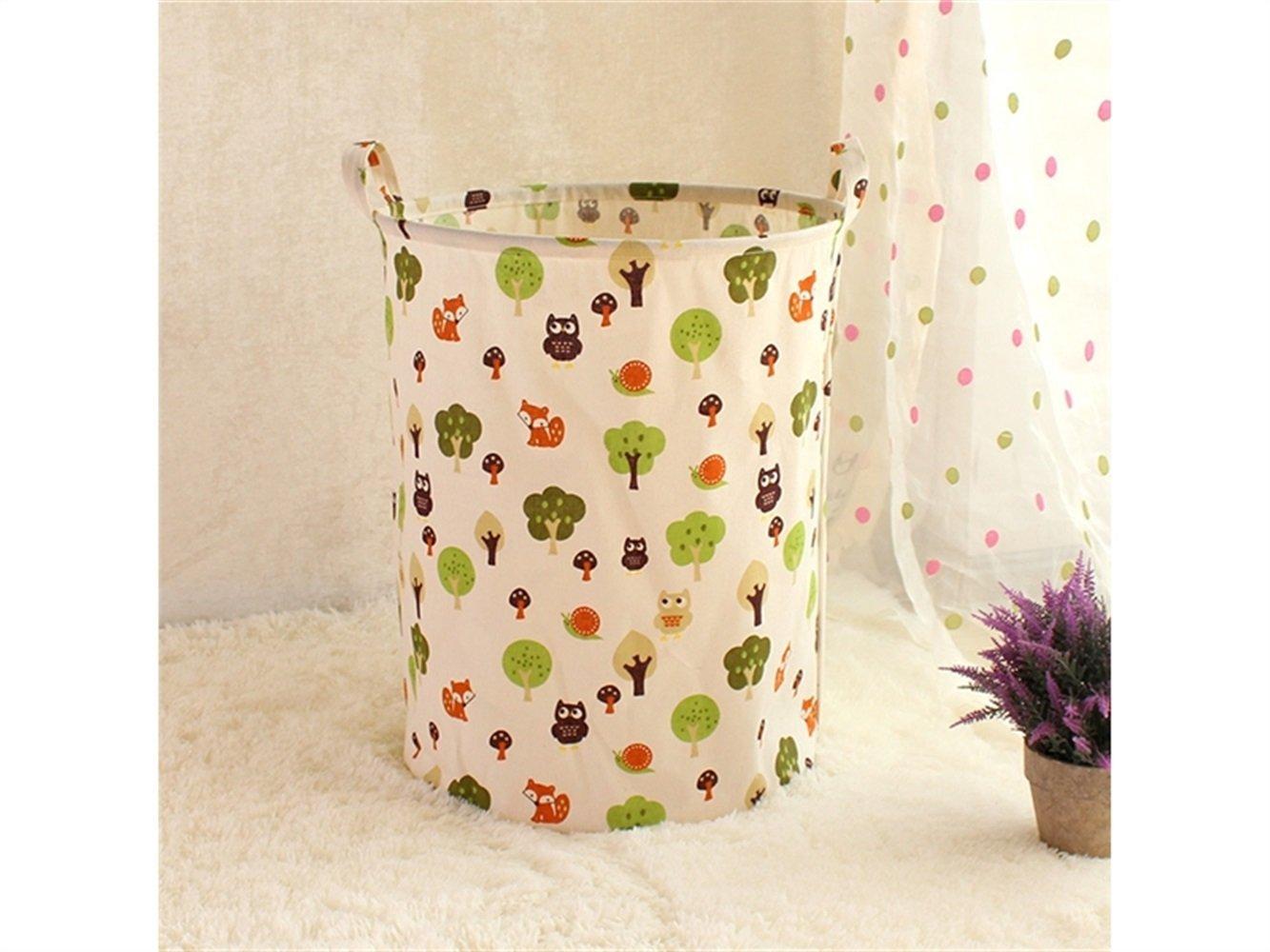 Gelaiken Lightweight Small Tree Pattern Storage Bag Cotton Bucket Sundries Storage Bucket(White)