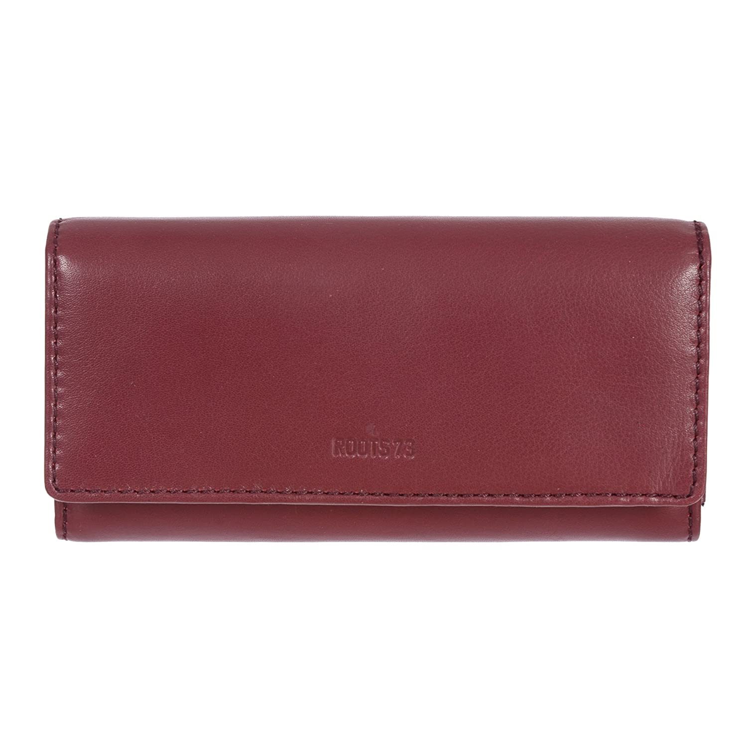 Roots 73 Women's Leather Clutch and Checkbook Wallet (Black) CBMC_R4564_1_BLK