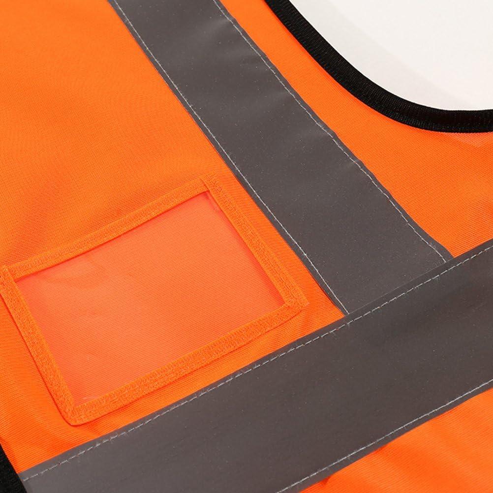 Tinksky Gilet de s/écurit/é r/éfl/échissant avec poches et fermeture /à glissi/ère pour la circulation trafic dassainissement Travailleur de nuit v/élo orange