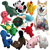 Squeaky Plush Dog Toy Pack for Puppy, Small Stuffed Puppy Chew Toys 12 Dog Toys Bulk with Squeakers, Cute Soft Pet Toy for Sm