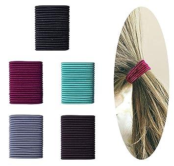 Amazon.com   100 Count Elastic Hair Ties Ponytail Holders No Metal PARTS -  NO DAMAGE - Multicolor Girls Hair Elastics (4mm5cm)   Beauty e24fb87fa2d