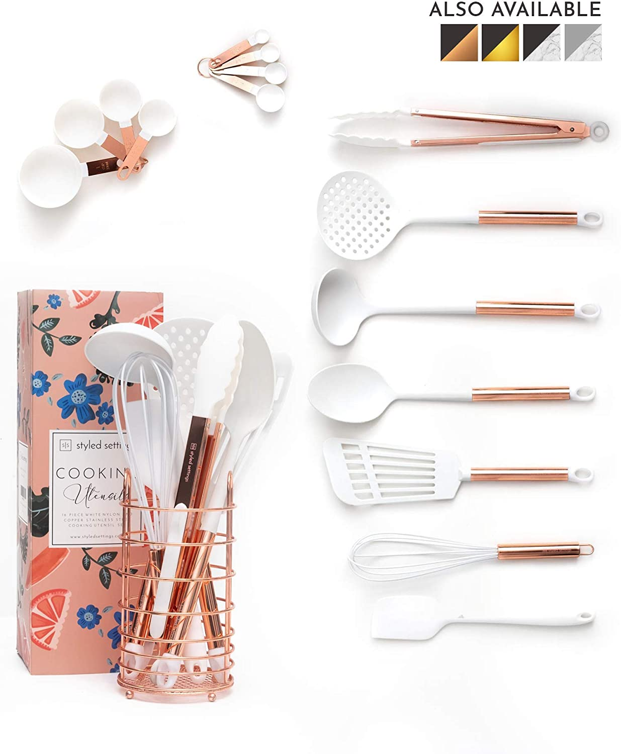 White and Rose Gold Cooking Utensils Set with Holder - 16-Piece Kitchen Utensil Set with Holder Includes White and Copper Measuring Cups and Spoons : Rose Gold Utensil Holder