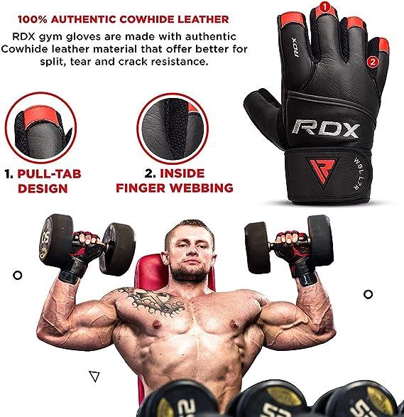 RDX Gewichtheffen Handschoenen Gym Lange Trainingsriemen Workout Fitness NL L