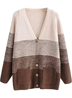 01264f76fe Doballa Women s Boxy Gradient Color V Neck Button Down Knit Cardigan Sweater  with Pockets
