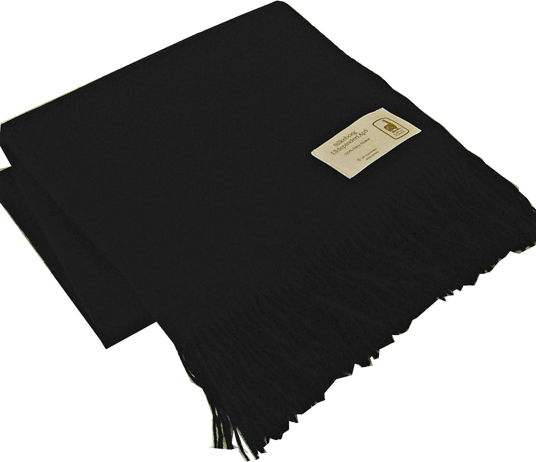 Silkeborg Leichte seidig glatte schwarze Babyalpaka Decke mit Fransen, Wolldecke 130x200 cm