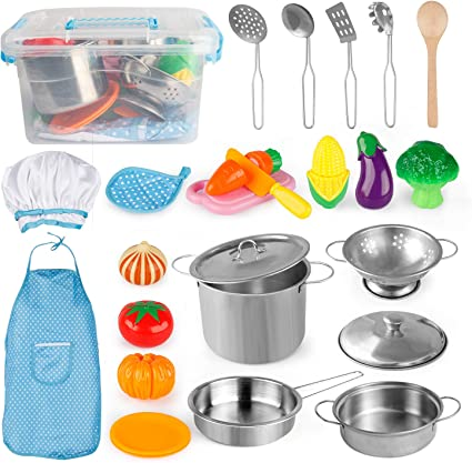 Amazon Com D Fantix Play Kitchen Accessories Kids Play Pots And Pans Playset With Mini Stainless Steel Pretend Play Cooking Toys Cookware Utensils Apron And Chef Hat Cutting Food For Toddler Boys Girls Toys