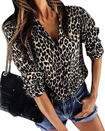 ShallGood Womens Autumn Casual Daily Blouse V Neck Leopard Casual Print  Tunic Long Sleeve Button Down 311212366