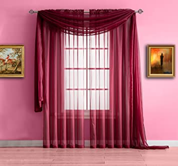 Warm Home Designs Burgundy Red Sheer Window Curtains Each Voile Drape Is 56 X 84