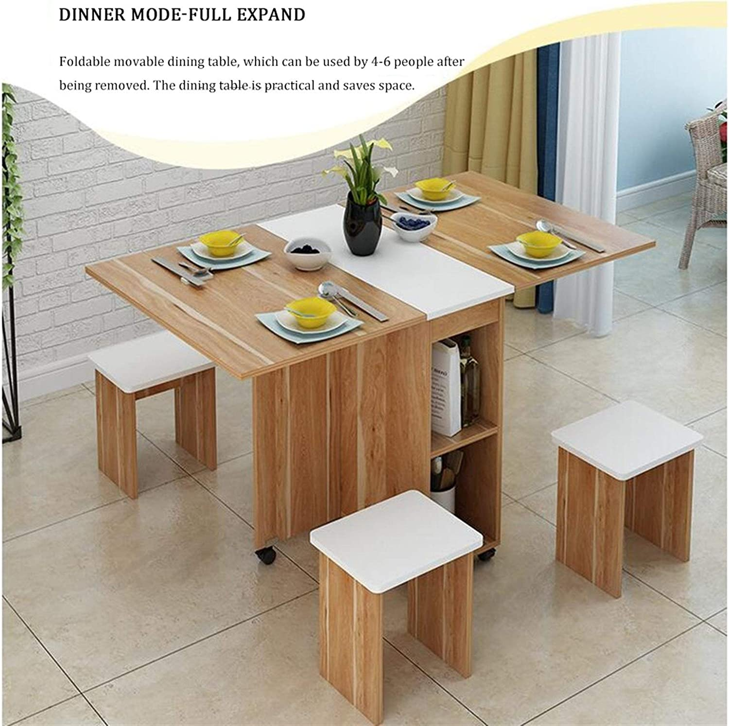 Maryyun Drop Leaf Dining Table Multifunction Large Capacity Storage Drop Leaf Table With 4 Chairs Color Maple Amazon Co Uk Kitchen Home