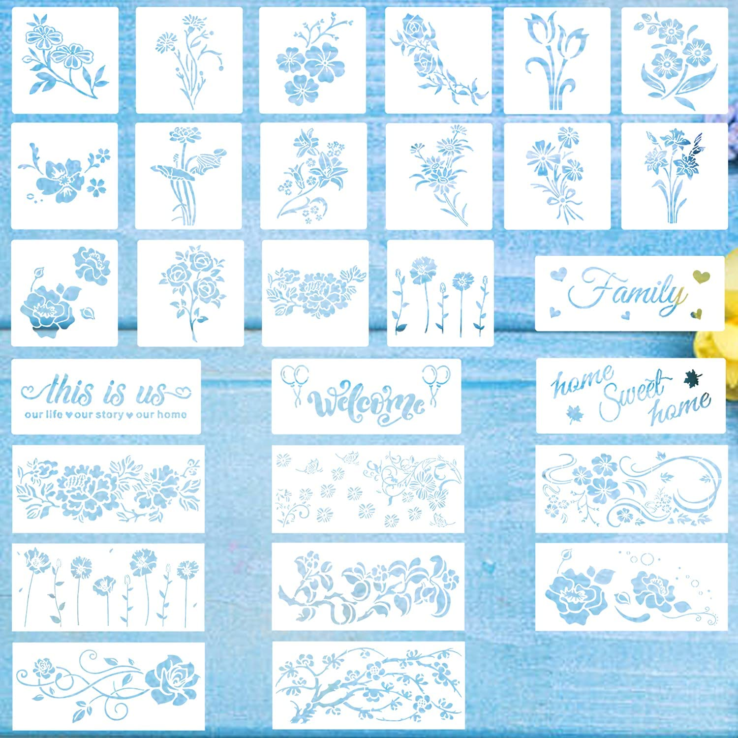 OBSGUMU 28Pieces Plant Flower Stencil Painting Templates Reusable Painting Stencil for DIY Furniture Wall Floor Decoration Home Decor,3 Sizes and 28 Patterns