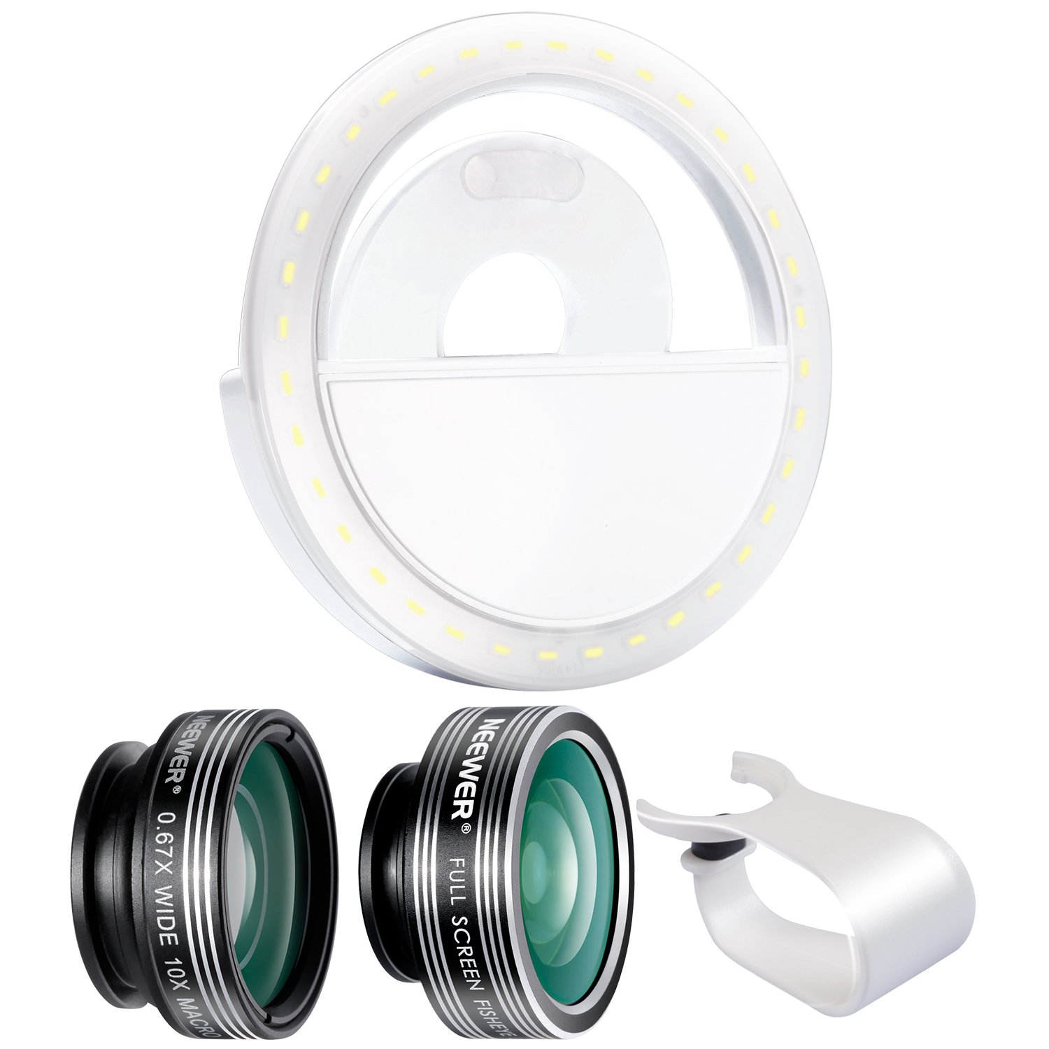 Neewer Cellphone Photography Clip-on Lens and Light Kit:3-in-1 Lens Kit,LED Selfie Ring Light with 3 Level Brightness for Android Tablets iPad iPhone Samsung Galaxy and other Smartphones by Neewer
