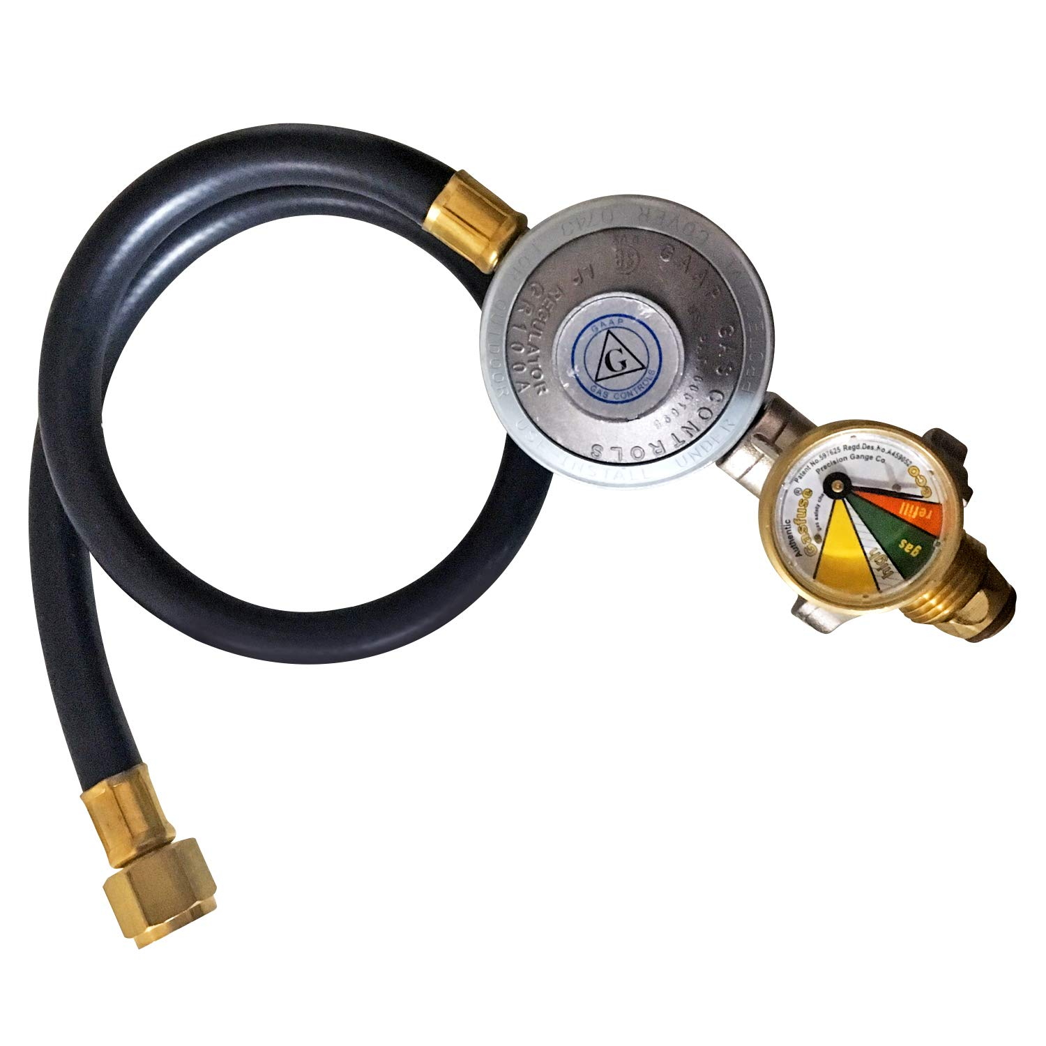 Gas Bottle Regulator, Auto Safety Leak Shut Off 600mm hose Gas-Fuse