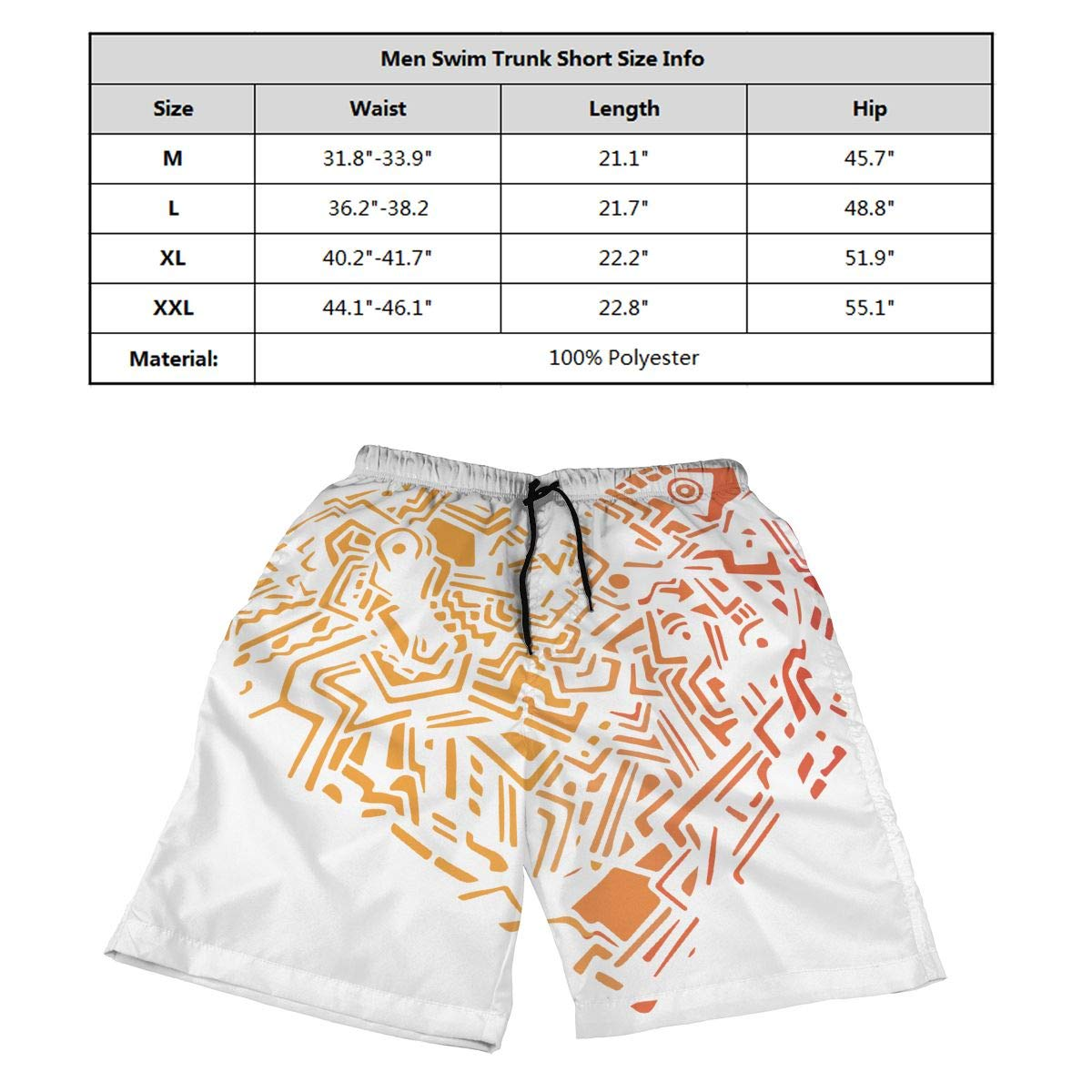 Ling Lake Geometric Heart Mens Beach Shorts Board Summer Swim Trunks