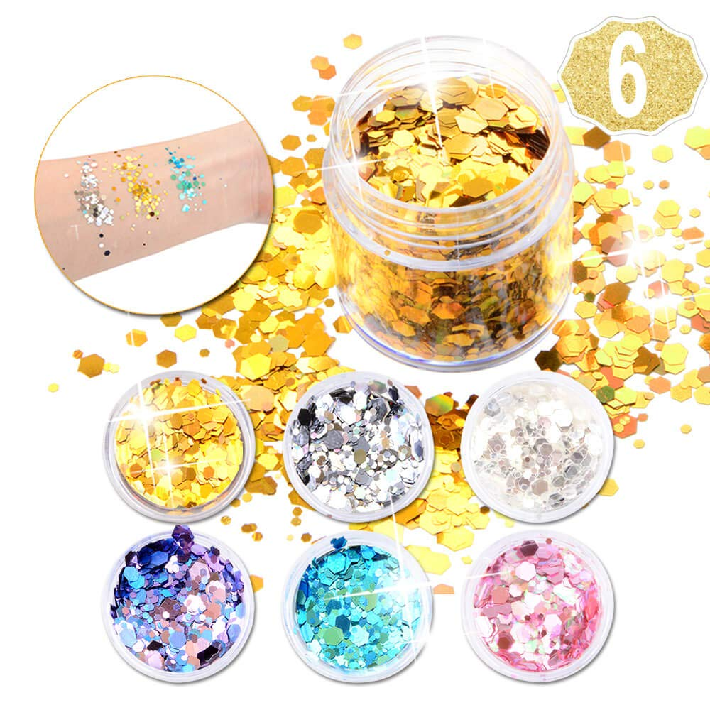 6 Sets Face Gems for Festivals, Self-adhesive Rhinestone Face Jewels, Face Crystals Tattoo + 2 Sets Temporary Tattoos (Face Gems) AniSqui