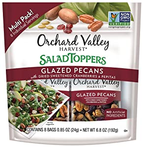 ORCHARD VALLEY HARVEST Salad Toppers, Glazed Pecans, 0.85 oz (Pack of 8), Non-GMO, No Artificial Ingredients