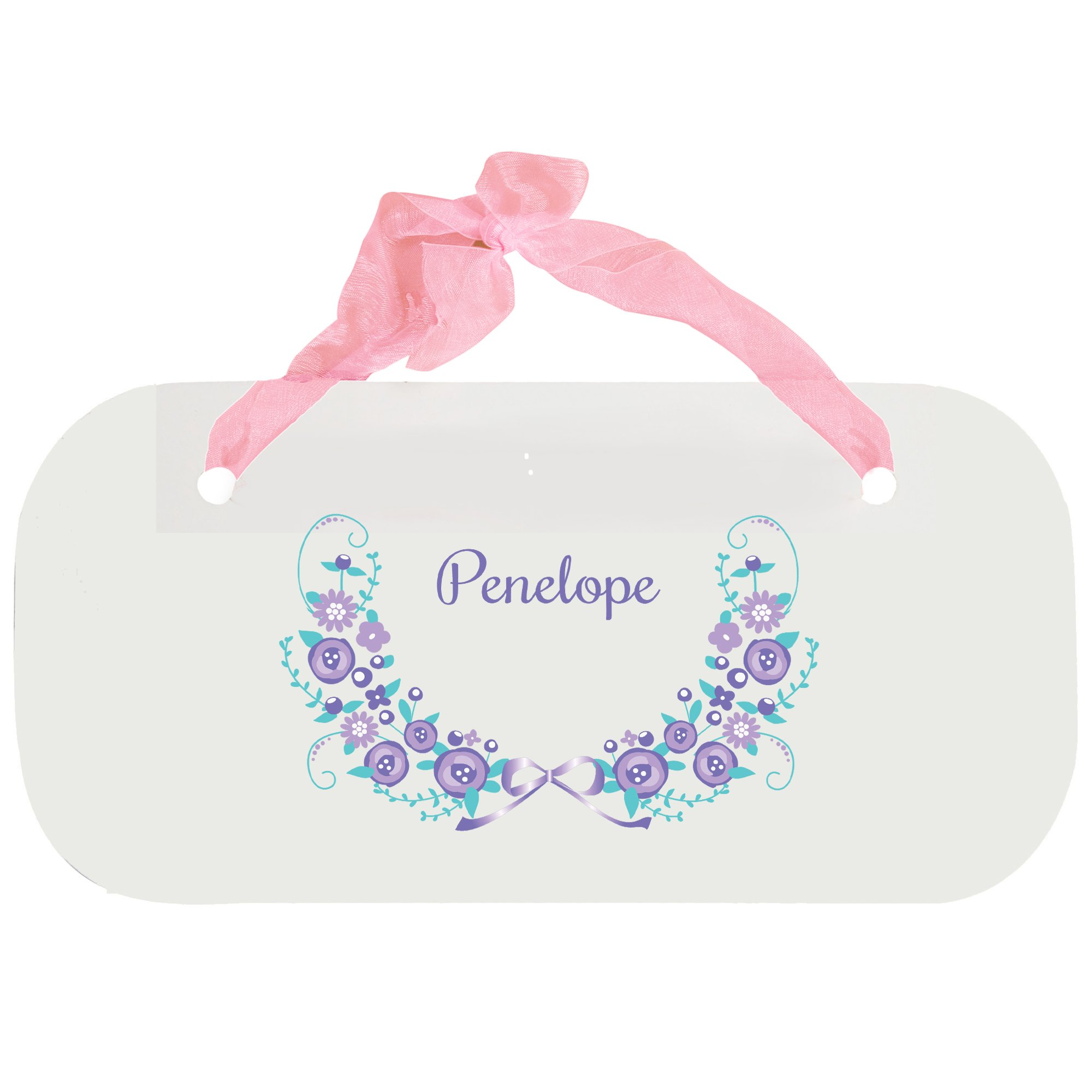 Personalized Lavender Floral Garland Nursery Door Hanger Plaque with Pink Ribbon