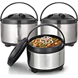 King International Stainless Steel Insulated Casserole, Set of 3, Silver
