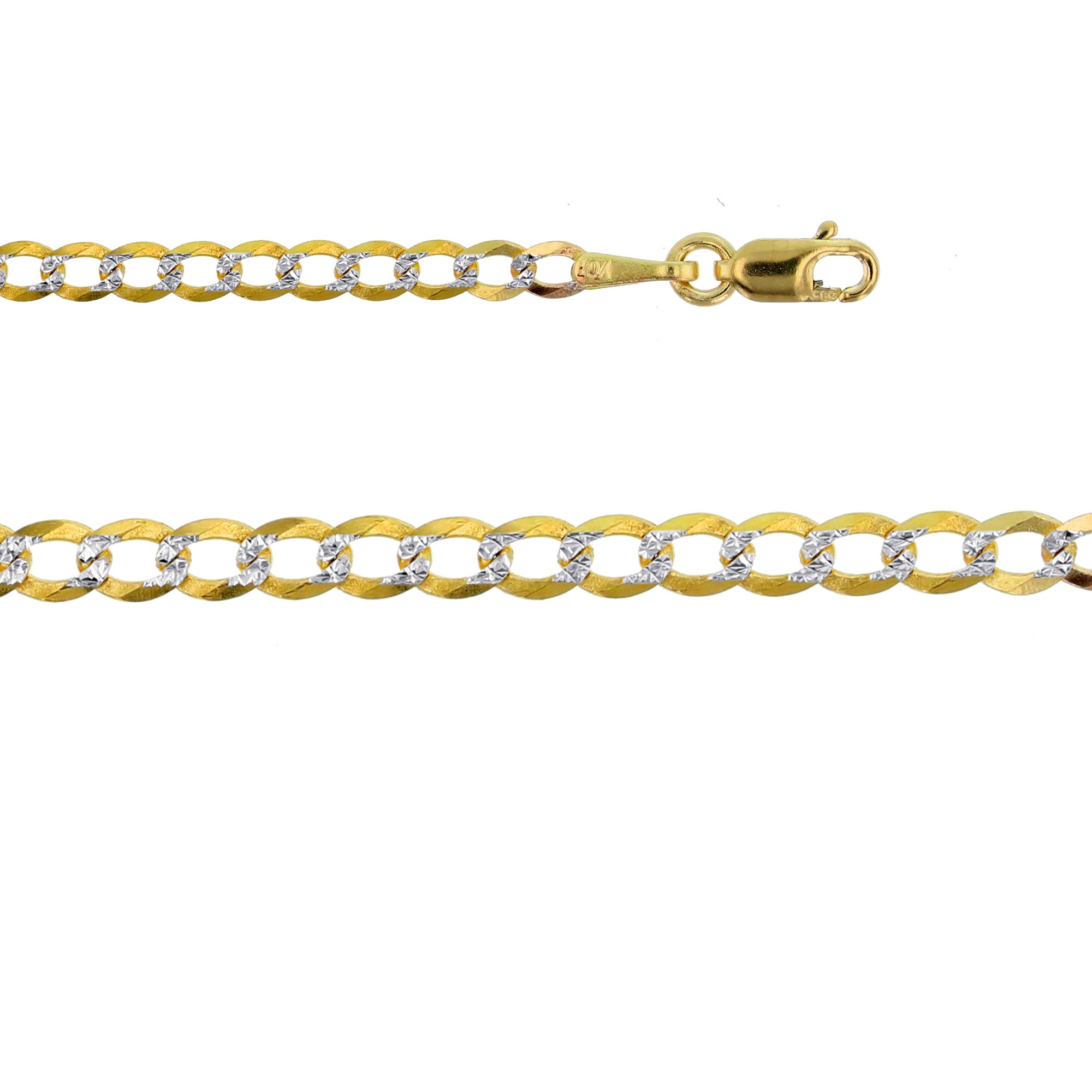 14K Two-Tone Gold 2.50mm Cuban 060 Pave 7'' Bracelet
