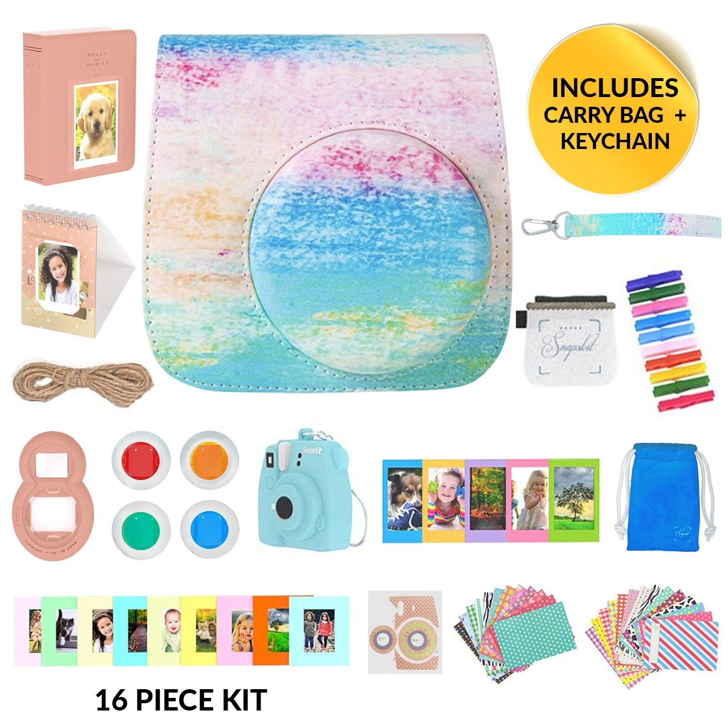 The ONLY Fujifilm Instax Mini 9 Camera Accessories Bundle Pack 16 Piece Kit to Include Free Keychain & Carry Bag for All Accessories, Rainbow Mist Protective Case + Strap Photo Albums 60 Stickers