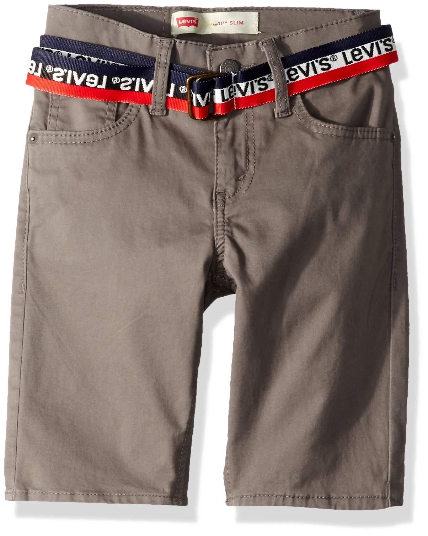 Levi's Boys' Toddler 511 Slim Fit Soft Brushed Shorts, Dark Gull Grey Belted, 4T
