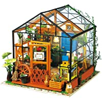 ROBOTIME Dollhouse Wooden Room Kit-Flower Green House-Home Decoration-Miniature Model to Build