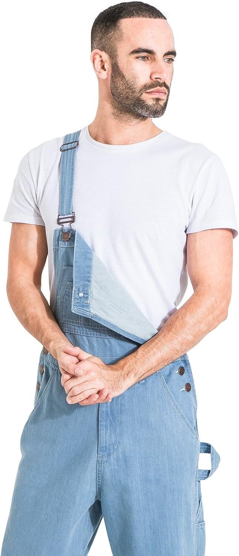 USKEES Salopette Jeans Uomo vestibilit/à Morbida Lavato Chiaro Salopette a Buon MENSBASICPALE