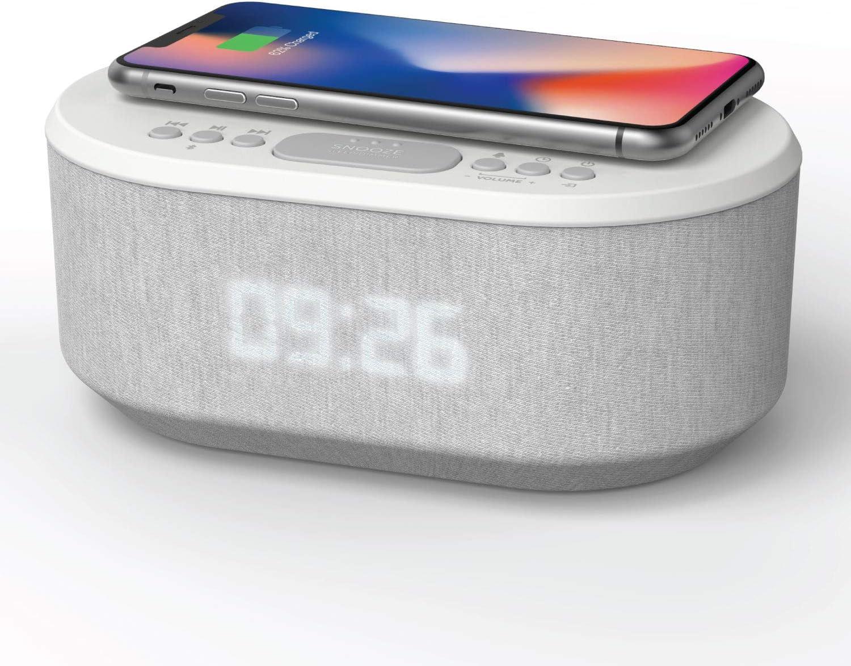 Radio Despertador con Carga Inalambrica, Puerto de carca USB, FM Radio, Bluetooth y Pantalla LED (Blanco)