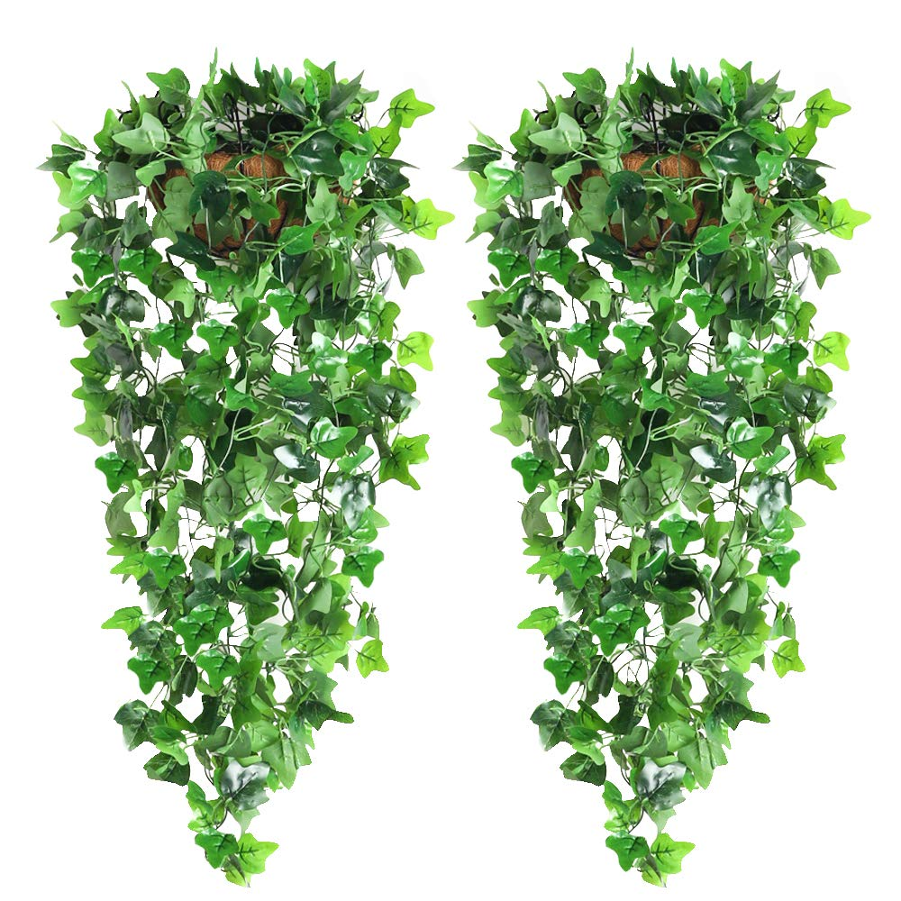 CEWOR 2PCS Artificial Hanging Plants Artificial Ivy Vine Fake Hanging Ivy for Wall Home Garden Wedding Garland Outside Hanging Decoration 3.6FT Each