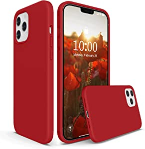 SURPHY Silicone Case Compatible with iPhone 12 Pro Max Case 6.7 inches, Liquid Silicone Phone Case (with Microfiber Lining) Designed for iPhone 12 Pro Max 2020 (Red)