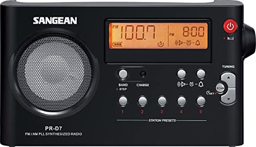 Sangean All in One Compact Portable Digital AM FM Radio with Built-in Speaker, Earphone Jack, Alarm Clock Plus 6ft Aux Cable to Connect Any Ipod, Iphone or Mp3 Digital Audio Player