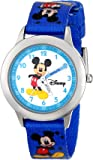 "Disney Kids' W000014 ""Time Teacher"" Mickey Mouse Stainless Steel Watch With Printed Nylon Band"