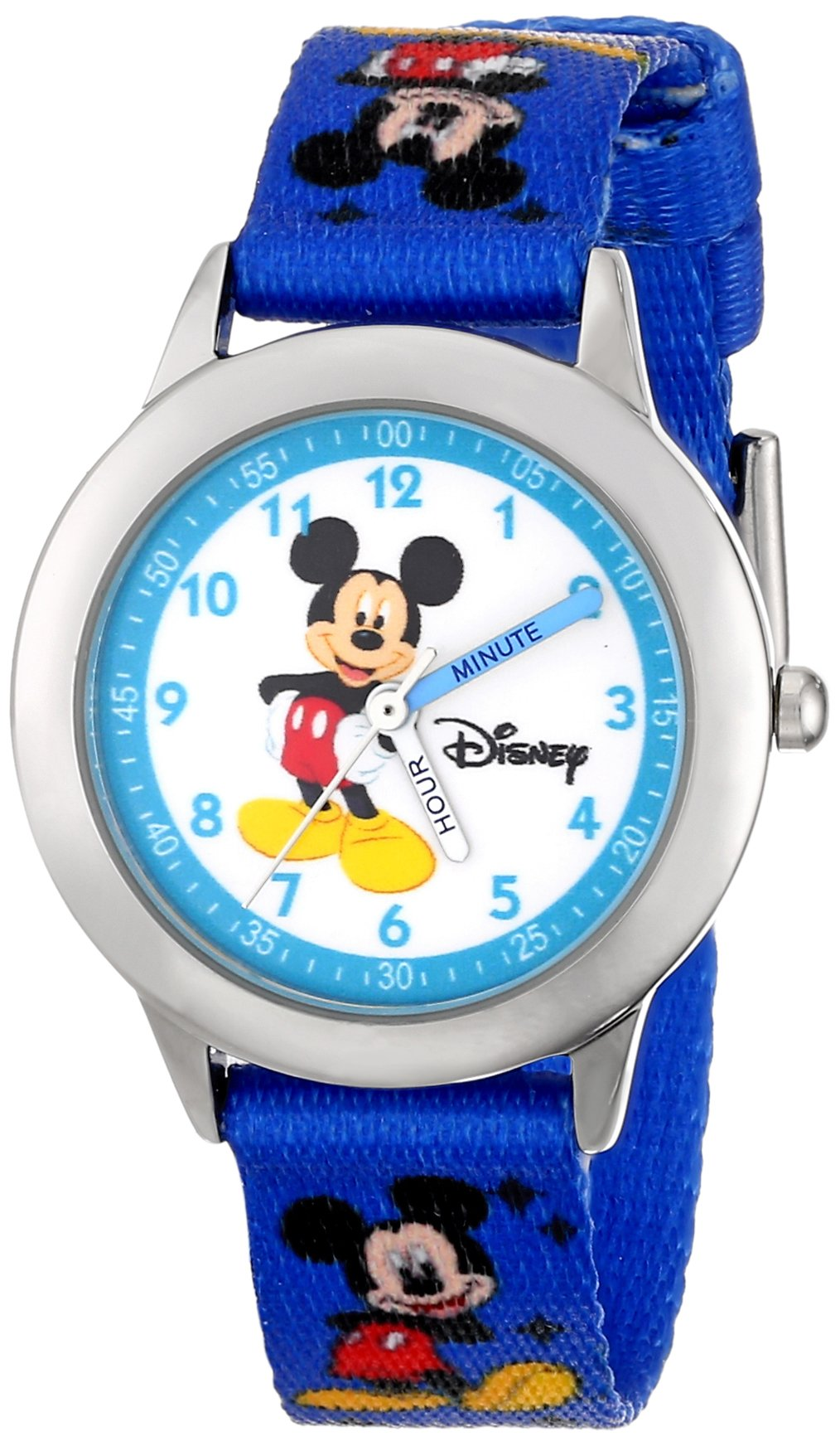 Disney Kids' W000014 ''Time Teacher'' Mickey Mouse Stainless Steel Watch With Printed Nylon Band