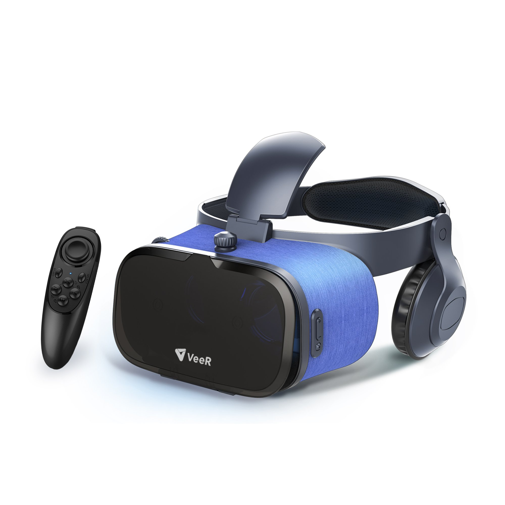 VeeR OASIS VR Headset with VR remote, 3D Virtual Reality Goggles with VR Controller, Compatible with 4-6.2 inches iOS/Android Smartphones, Stereo Headphones, Light Body, Eye Protection Mechanisms