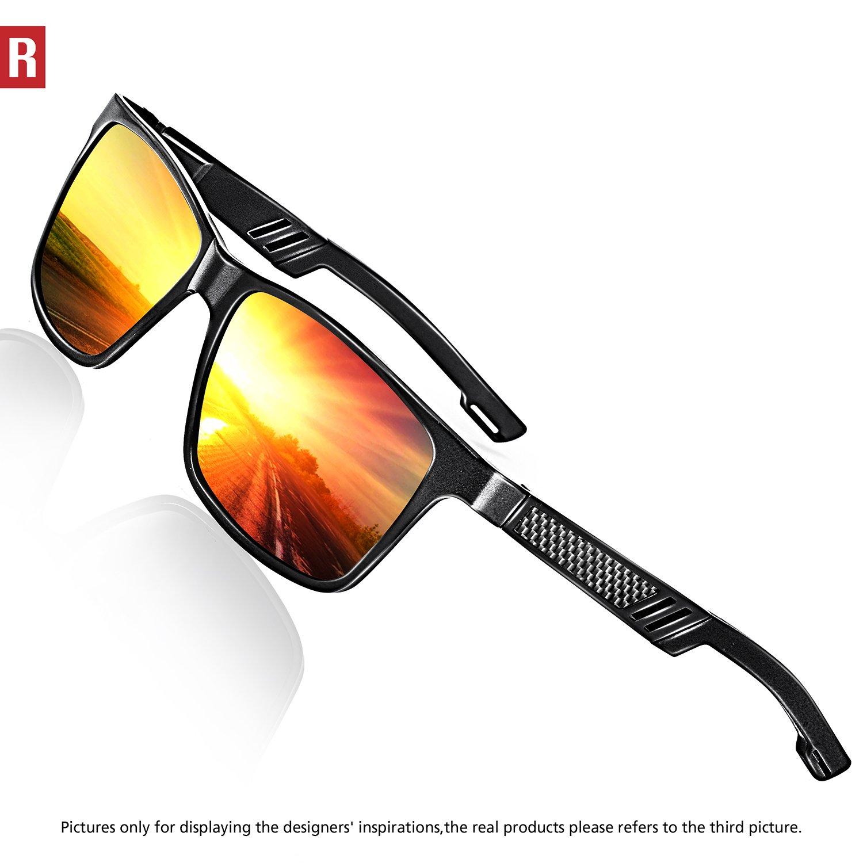 ROCKNIGHT Polarized UV Protection Driving Sunglasses for Men Wayfarer Metal Frame Al-Mg Lightweight Outdoors Sunglasses