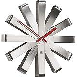 Umbra Ribbon 118070-590 Orologio da parete in acciaio INOX e nichel, diametro 30 cm
