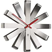 Deals on Umbra Ribbon Modern 12-in Wall Clock,Battery Operated Quartz